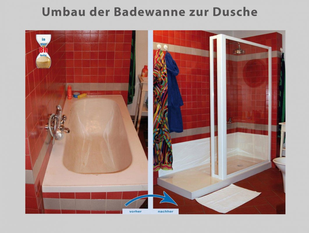 wanne zur dusche in nur 8 stunden badbarrierefrei berlin. Black Bedroom Furniture Sets. Home Design Ideas